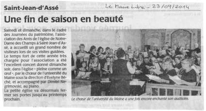 article Le Maine Libre - concert choeur université du Maine - direction Evelyne Béché - Saint-Jean d'Assé (Sarthe, France) - 21 septembre 2014