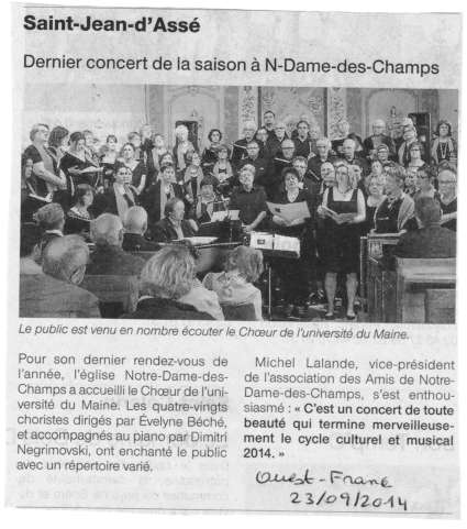 Article ouest-France - concert choeur université du Maine - direction Evelyne Béché - Saint-Jean d'Assé (Sarthe, France) - 21 septembre 2014