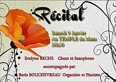 recital Evelyne Béché singing-saxophone, accompanied at the organ or at the piano by Boris Bouchevreau